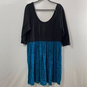 Torrid Black And Blue Cheetah Midi Dress Size 3x